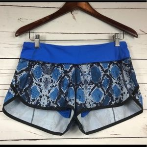 Lululemon Speed Shorts-Ziggy Snake Blue, Size 6